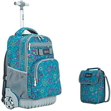 9a8432591983 Tilami New Antifouling Design 18 Inch Wheeled Rolling Backpack Luggage &  Lunch Bag,Blue Floral 2