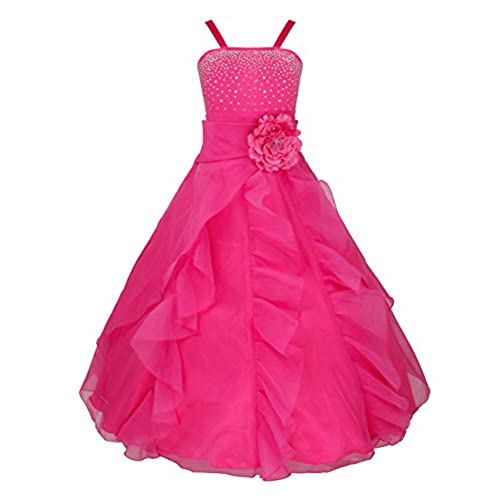 YiZYiF Kids Big Girls Flower Party Wedding Gown Bridesmaid Organza Ruffle Dress Rose 10