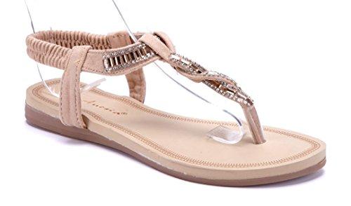 Schuhtempel24 Damen Schuhe Zehentrenner Sandalen Sandaletten Beige Flach Blumenapplikation/Glitzer/Ziersteine Jihqtcb6