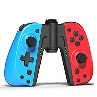 KINVOCA C25 Joycon Replacement for Nintendo Switch/Switch Lite - L/R Joy Pad - Programmable Macros, Turbo, Motion Control & Dual Shock - Wired/Wireless Switch Controller - Red and Blue with Grip