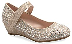 Low Wedge Heel With Strap & Rhinestone Shoes