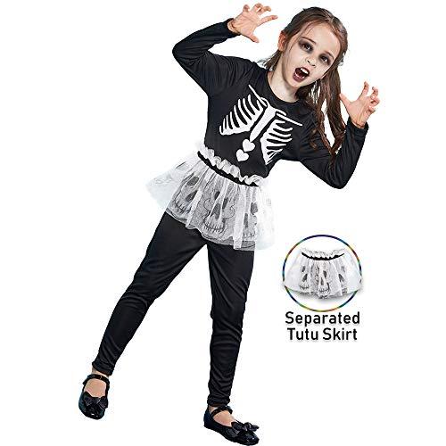 ReneeCho Girl's Halloween Skeleton Dress Costume Tutu Skirt,