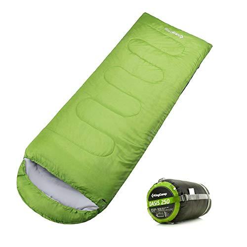 - KingCamp Envelope Sleeping Bag 3 Season Lightweight Comfort with Compression Sack Camping Backpack Temp Rating 26F/-3C