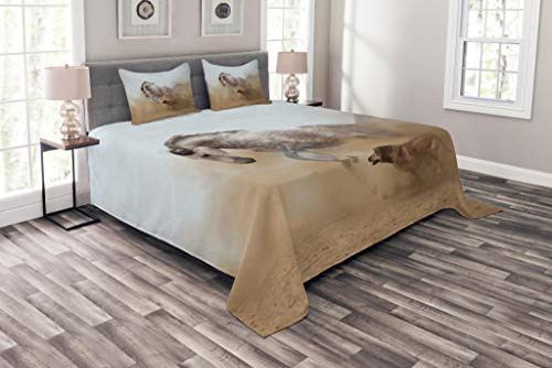 Lunarable Horses Coverlet Set Queen Size, Lusitanian Horse Playing with Dog in Sand Storm Wild Fast Companion Friendship, Decorative Quilted 3 Piece Bedspread Set with 2 Pillow Shams, Cream Silver