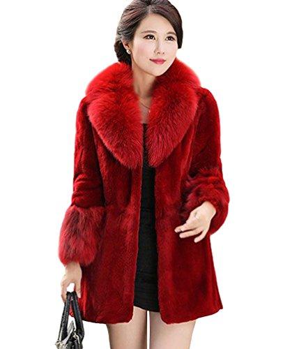 en Blouson Vin Fourrure CHENGYANG Veste Femmes Manteau Rouge Fausse Chaud Parka Hiver Manteaux qCnnfpHw