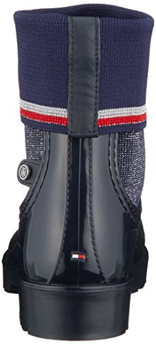 Femme Hilfiger 403 et Midnight Bottines Tommy Knitted Boot de Rain Sock Bleu Pluie Bottes axFwp