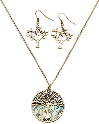 Glamour Girl Gifts Antique Gold Tone Abalone Shell Tree of Life Necklace and Earrings Fashion Jewelry Set