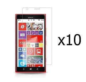 Nokia Lumia 1520 - 10 Pack - Premium Clear Screen Guard Protectors + Atom LED Keychain Flashlight