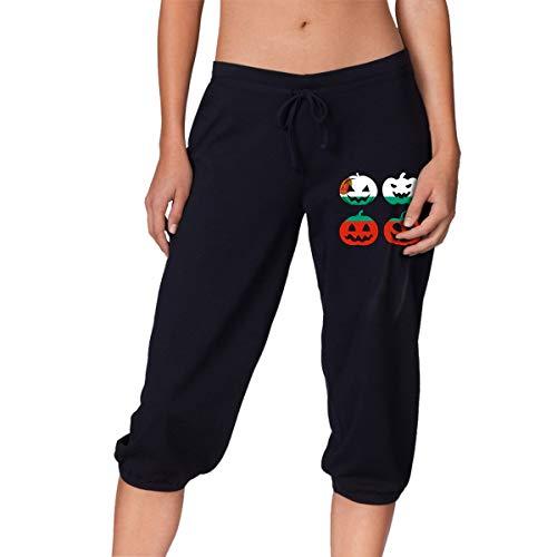 (Women's Bulgaria Halloween Pumpkin Head Capri Pants Stretch Running Pants for Women)