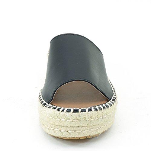 Nieuw Brieten Damescomfort Stro Dikke Zool Sleehak Platform Sandalen Zwart