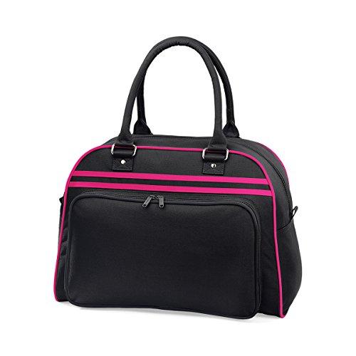 BagBase Borsa a mano bowling da Donna Retro bag 44x31x25cm 23L Black White Black/ Fuchsia