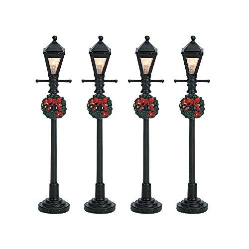 Street Four Light - Lemax Christmas - Gas Lantern Street Lamp Set of 4 B/O (4.5V) (64498)