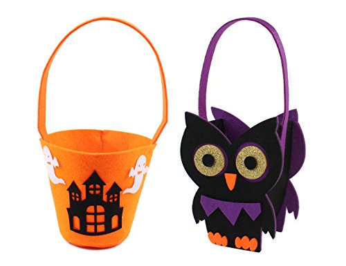 Group Candy Bar Halloween Costumes - Absolutely Perfect Children's 2 Pack Halloween Trick or Treat Candy Bags Pumpkin Goody Tote Sacks Owl and Haunted House