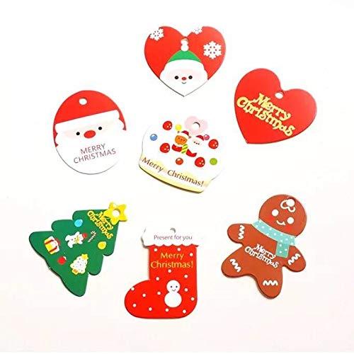 Mafent 70 pezzi regalo di Natale etichette per regali natalizi con corda rossa per festa di Natale Xmas Presents & Gifts regalo con accessori (7 disegni)
