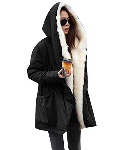 Pelo Mujer Moda Capa Casual Abrigos Dama Parka Trench Negro Sintetico Parka Militar Chaqueta Acolchada Abrigo Pelo Mujer Capucha qX6vU6aw1