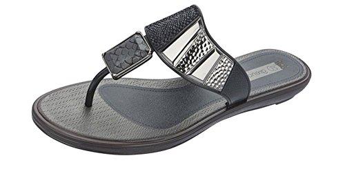 Grendha Allure Thong Womens Flip Flops / sandfarbeale - schwarz Snake