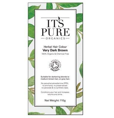 Organic Hair Dye - It's Pure Organics Herbal Hair Colour Very Dark Brown