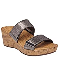 Vionic Women's Atlantic Pepper Adjustable Platform Sandal - Ladies Wedge with Concealed Orthotic Arch Support