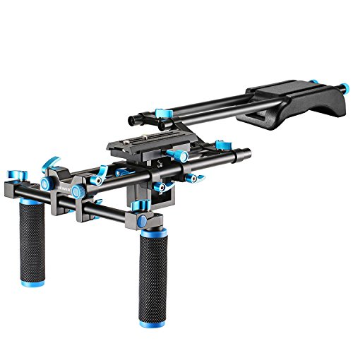 Neewer Camera Movie Video Making Rig Set System Kit for Canon Nikon Sony and Other DSLR Cameras,DV Camcorder,Include:Shoulder Mount,15mm Rail Rod System,Z-Shape Raised Rail(Blue)