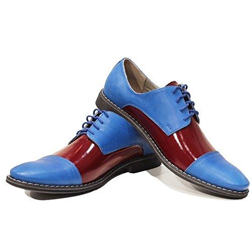 PeppeShoes Modello Flippo - Handgemachtes Italienisch Leder Herren Blau Oxfords Abendschuhe Schnürhalbschuhe - Rindsleder Weiches Leder - Schnüren