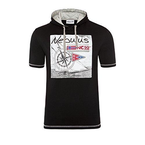 T192 - NEBULUS Sweat à capuche VAGUES, Chemise, chemise, Polo, polo - Homme noir, XL