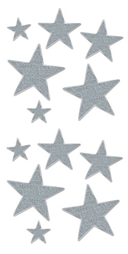 (Beistle 57857-S 12 Pieces Assorted Glittered Foil Star Cutouts, Silver)
