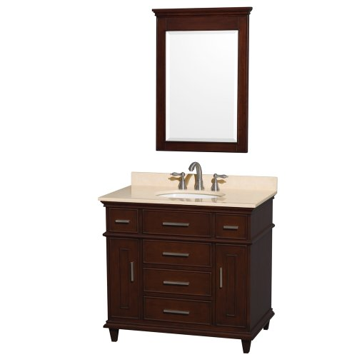 Wyndham Collection Berkeley 36 inch Single Bathroom Vanity in Dark Chestnut with Ivory Marble Top with White Undermount Oval Sink and 24 inch Mirror (Collection Top Vanity)