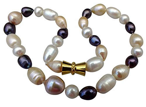 Cream/Peach/Black Natural Baroque Cultured Pearl Necklace with an Attractive Magnetic - Necklace Peach Pearl Cultured