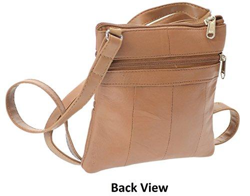 Blocking RFID Blocking Bag Crossbody Genuine RFID Leather Tan tzqTxAqZ