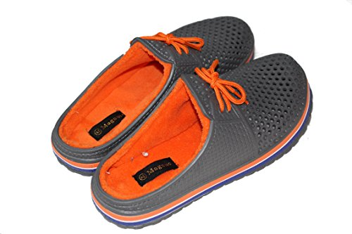 amara-global Men's Clogs Grey-Orange ogUuNW1R