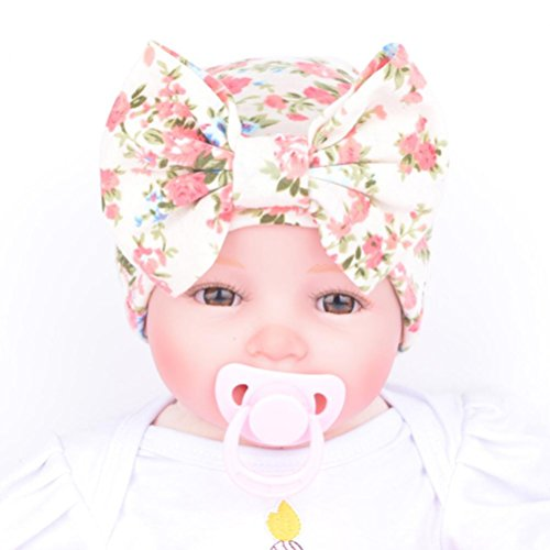 Mikey Store Newborn Baby Hospital Hat With Flower Bowknot Flower (Beige)