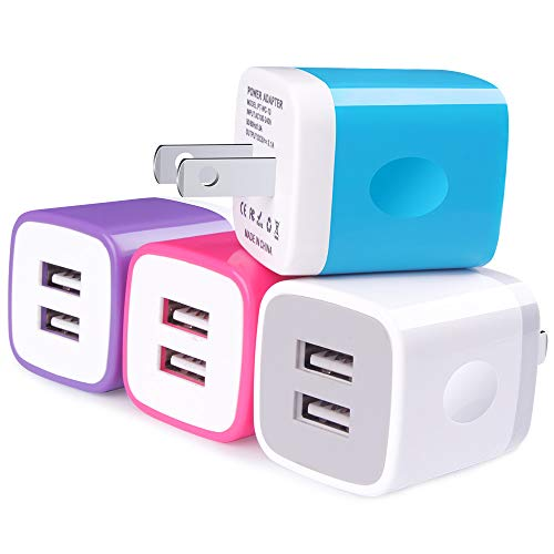 Wall Charger Plug, UorMe 4PC 2.1A Dual Port Travel Wall Charger USB Plug Cube Block Box Compatible with iPhone X/8/7/6 Plus, Samsung Galaxy s9 S8 Note 9 8, HTC, LG, Google Pixel, BlackBerry and More