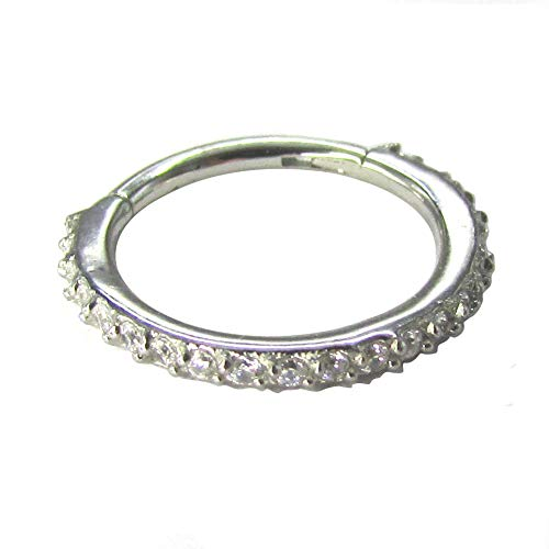 NewkeepsR 16G 10mm(3/8'') 316L Steel Hinged Clicker Segment Ring Pave Set with Clear Sparkling CZ Gems