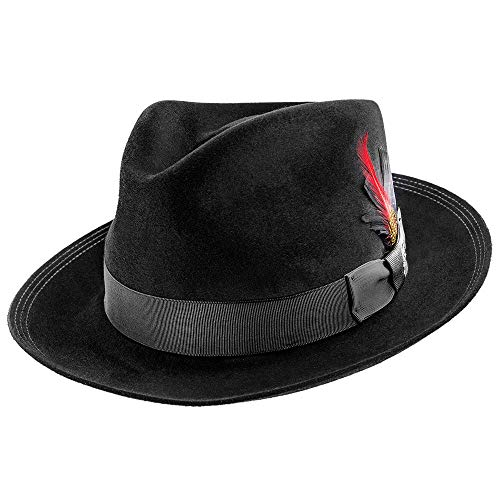 Stetson Benchmark 150th Beaver Fur Felt Fedora Hat - TFBNCMG Black