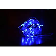 Amazlab T1B3, 3m/10ft, Set of 3, Soft Copper Wire Twine Micro LED String Lights, 30 LED Bulbs Starry Indoor Outdoor Decorative Fairy Lights and 3 AA Batteries Operated. Blue (Batteries not Included)