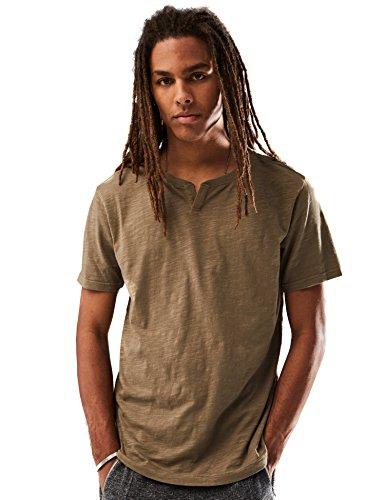 (Rebel Canyon Young Men's Short Sleeve Notched Crewneck T-Shirt in Slub Jersey Medium Olive)