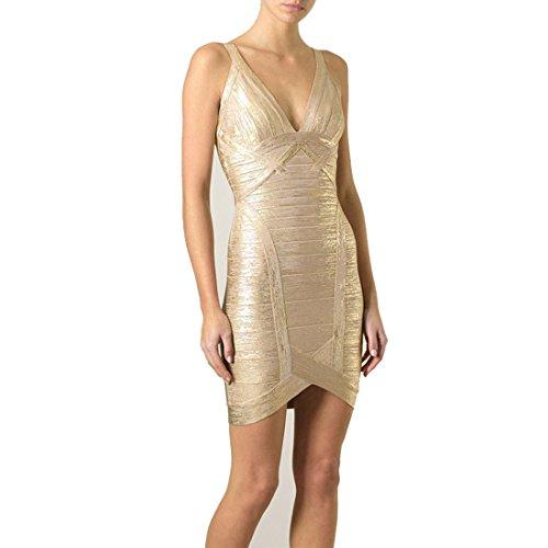 HLBCBG - Vestido - Sin mangas - para mujer Oro - Oro