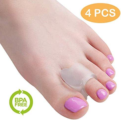 Toe Spacers (4 Pack) - Spreaders for Bunion, Gel Toe Ring Separator - Corrector for Plantar Fasciitis, Hammer Toe, Bunion Pain Relief, Overlapping Crooked Toes