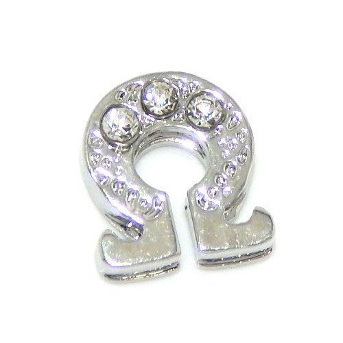 """Jewelry Monster """"Omega Greek Letter w/ Crystals"""" for Floating Charm Lockets 0005B"""