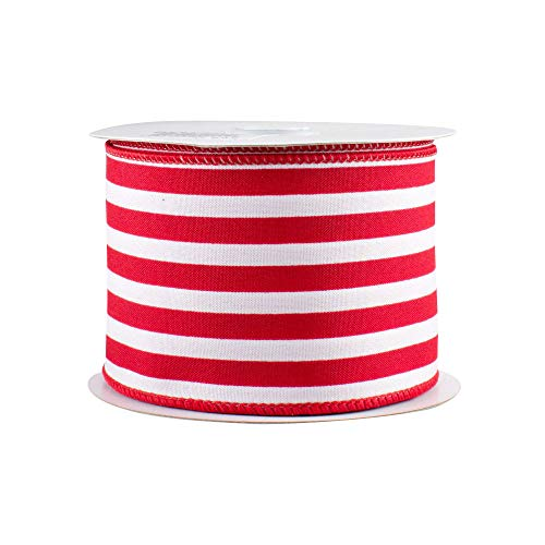 Red White Stripe Wired Ribbon - 2 1/2