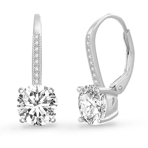Silver Leverback Cubic Zirconia Earrings - Sterling Silver Round Cubic Zirconia Drop Leverback Fancy Bridal Earring (White) Bridal Party Gift