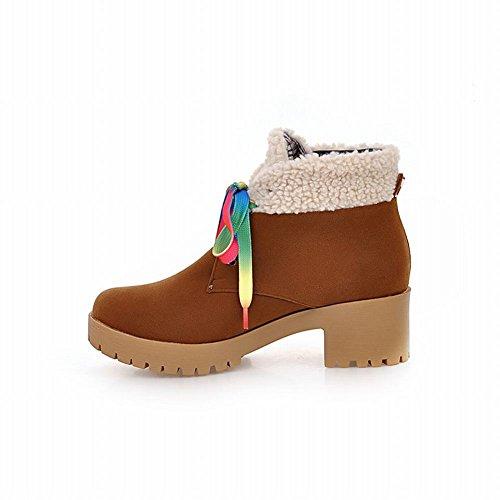 Winter Comfort Brown Mid Carolbar Lace Boots Fur Women's Faux Heel Up wnrq8XYvqx