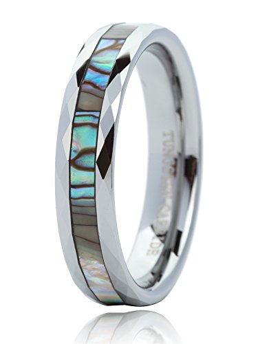 Just Lsy Unisex 5mm Tungsten Rings Men Faceted Mother Pearl Inlays Wedding Band Comfort Fit Size 15-020