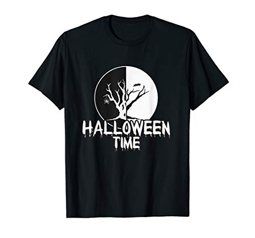 Funny Happy Halloween Time Creeping Spider Tree Women Men T-Shirt]()