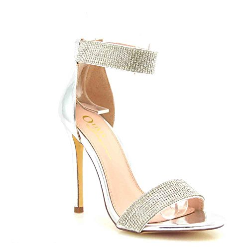 (Olivia Jaymes Women's Dress Sandal | Round Open Toe | Rhinestone Covered Band Ankle Strap | Stiletto Heel Sandals (9, Silver))