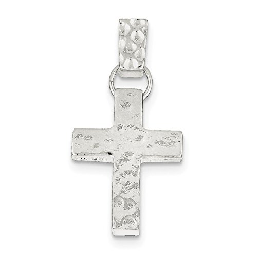 Lex & Lu Sterling Silver Hammered Latin Cross Pendant-Prime