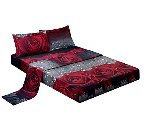 HIG 3D Bed Sheet Set -4 Piece 3D Rose Love Romantic Moment Printed Sheet Set Queen Size (Y28) - Soft, Breathable, Hypoallergenic, Fade Resistant -Includes 1 Flat Sheet,1 Fitted Sheet,2 Shams