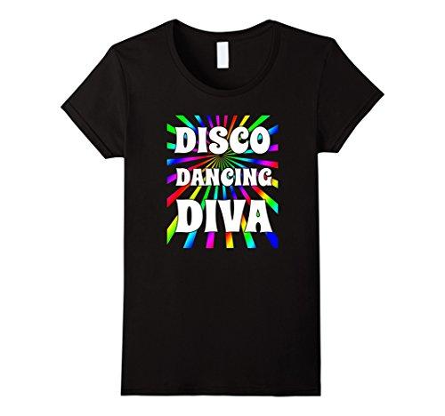 Black Disco Diva Costume (Womens 70's Disco Costume Shirt Dancing Diva Neon Multi-Color Small Black)