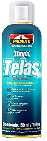 LIMPA TELAS EM AEROSSOL PROAUTO 150 ML - GRÁTIS PANO DE MICROFIBRA