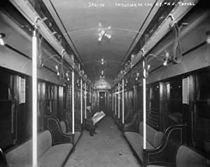 early 1900s photo interior of car n y n j tunnel vintage black white pho f6. Black Bedroom Furniture Sets. Home Design Ideas